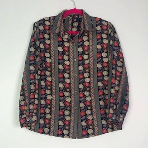 VTG 70's Mixed Print Flower Button Down Navy S